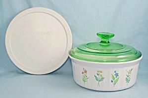"Corningware – Decorated French White – ""My Garden"" - Green Glass & Storage Lids (Image1)"