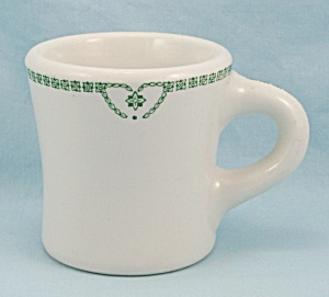 Jackson China Heavy Mug, Green Nouveau Pattern, Jackson Pattern #129