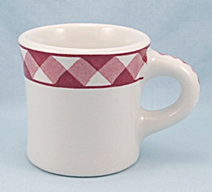 Jackson China - Red Plaid/ Triangles Border, Heavy Mug