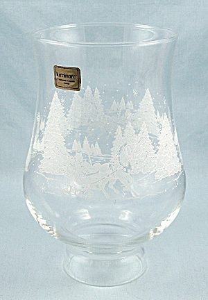 Hurricane Lamp Globe, 2-inch Fitter, Winter Scene