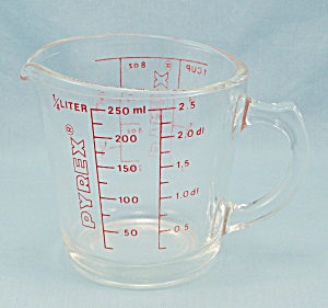 Pyrex 508 - Measuring Cup, Red Lettering, 1-Cup	 (Image1)