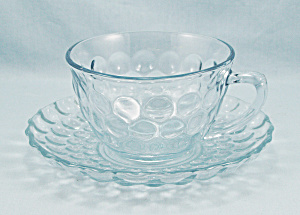 Light Blue - Bubble - Cup And Saucer, Anchor Hocking