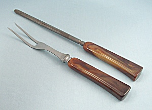 Two - Bakelite - Carving Set Pieces