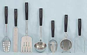 Ekco Utensil Set - 7 Pieces, Black Basket Weave Handles