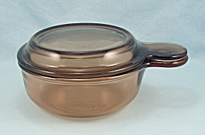 Amber V 150 B Visions, Grab It Bowl  & Lid, Vintage Corning (Image1)