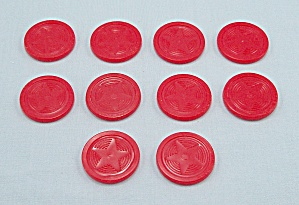 "Mr. Mouth Game, Tomy, 1976, 10 Replacement Plastic 1"" Red Chips"