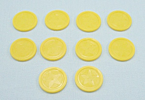 "Mr. Mouth Game, TOMY, 1976, 10 Replacement Plastic 1"" Yellow Chips (Image1)"