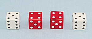 Tournament Backgammon, E.S. Lowe, 1973, 4 Replacement Standard 6-Sided Dice, 2 Red, 2 White (Image1)