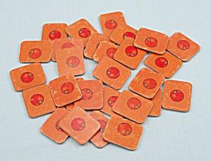 Jackpot Yahtzee Game, E.S. Lowe, 1980, 28 Replacement Orange Tiles (Image1)
