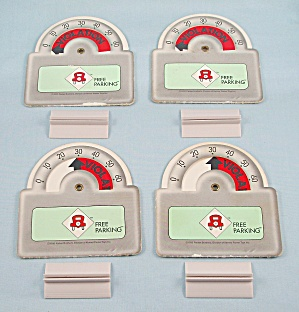 Free Parking Game, Parker Brothers, 1988, 4 Replacement Parking Meters With Stands