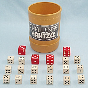 Challenge Yahtzee Game, E. S. Lowe, 1978, Replacement Dice and Dice Cup (Image1)
