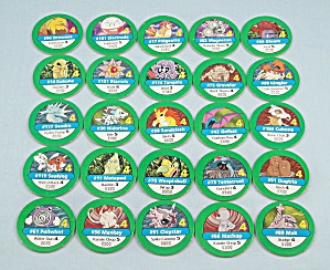 Pokémon Master Trainer Game, Milton Bradley, 1999, 25 Replacement Green #4 Chips (Image1)