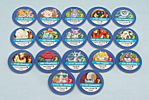 Pokémon Master Trainer Game, Milton Bradley, 1999, 17 Replacement Blue #7 Chips (Image1)
