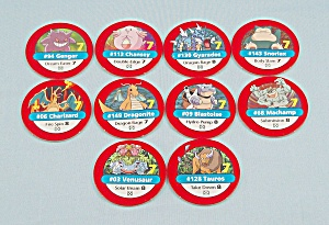 Pokémon Master Trainer Game, Milton Bradley, 1999, 10 Replacement Red #7 Chips (Image1)