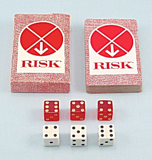 Risk, Wooden Pieces, Game, Parker Brothers, 1968, Replacement Deck of Cards and Dice (Image1)