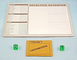 Clue Master Detective Game, Parker Brothers, 1988, Replacement Dice, Case File, Notepad