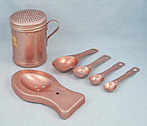 Copper Color Aluminum Vintage Kitchen, Spoon Rest, Shaker, Measuring Spoons