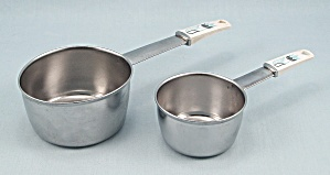 Two Measuring Cups - Decorated Handles - Japan