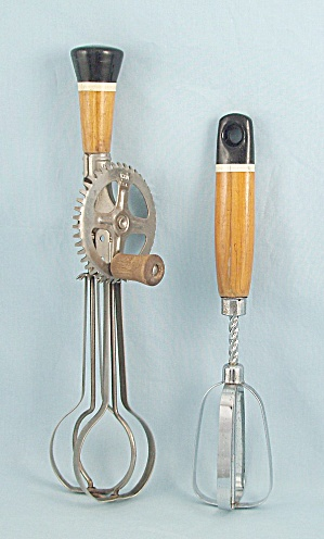 Two - Ekco - Single Hand Mixer/ Spring Action & Egg Beater