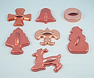 7 - Christmas Coppertone Aluminum Cookie Cutters #2