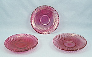 Three Diana Demitasse Ruby Flashed Saucers