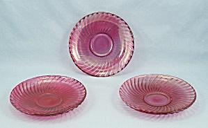 Three Diana Demitasse Ruby Flashed Saucers (Image1)