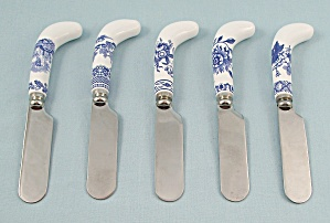 5 - Individual Cheese Spreaders – Tower Blue by Spode (Image1)
