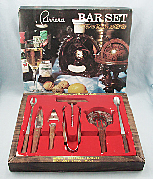 Riviera Bar Set - Original Box, Vintage, Never Used 7 Piece Set, Rosewood Handles