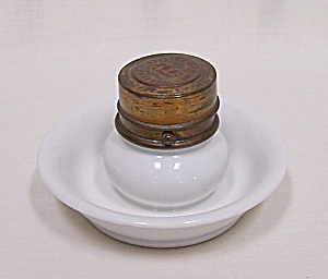 French Brevete Porcelain Traveling Inkwell