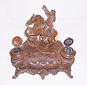 Large Joan Of Arc Double Figural Inkwell