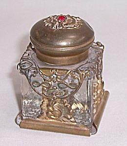 Gilt Brass Inkwell With Jeweled Lid