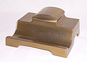 Art Deco Cast Brass Inkwell