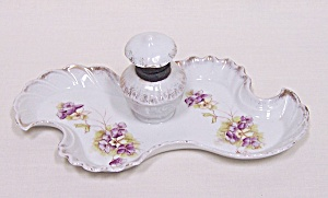 Austrian Hand-painted Porcelain Inkwell With Tray