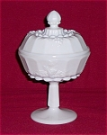 Click here to enlarge image and see more about item TE008: WESTMORELAND Paneled Grape Covered Candy Jar- Compote & Cover - No. 1881