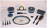 Click here to enlarge image and see more about item TE0332: 14 pc. Blue Celluloid Dresser Set with Clock & Tray � Pyramid