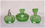 Click here to enlarge image and see more about item TE0461: Perfume Bottles -  Green -  Set of Three - Austria