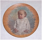 Click here to enlarge image and see more about item TE0586: 1885 - Baby Portrait – Oil on Wood