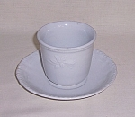White Ironstone Handle-Less Cup & Saucer �Moss Rose Pattern