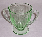 Green Glass  – Tiffin – Etched Footed Sugar