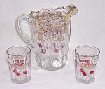 Click here to enlarge image and see more about item TE0757: Northwood � Plums And Cherries � Pitcher/Tumblers
