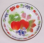 Click here to enlarge image and see more about item TE0767: Graniteware – Enameled Bowl With Fruit – Corona