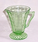 Click here to enlarge image and see more about item TE0788: Hocking Glass Co. - Block Optic  - Green Creamer