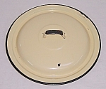 Click here to enlarge image and see more about item TE0913: Large Yellow Granite Ware Lid - Chamber Pot Lid