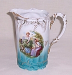 Click here to enlarge image and see more about item TE1032: Pitcher – Sheep & Shepherd Girls