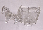 Click here to enlarge image and see more about item TE1056: Figural Glass Candy Container � Large Glass Pony and  Two Wheeled Cart