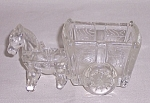 Figural Glass Candy Container –Glass Pony and Two Wheeled Cart