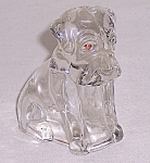Click to view larger image of Figural Glass Candy Container / Figurine –  Glass Mopey Dog - Hound Pup (Image1)