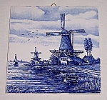 Click here to enlarge image and see more about item TE1235: Delft Hand-Painted Windmill Tile