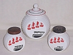 Click here to enlarge image and see more about item TE1425: Hocking � Vitrock � Red Flower Pots � Salt, Pepper & Grease Jar