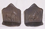 Click here to enlarge image and see more about item TE1443: Scottish Terrier � Iron Bookends- 1929